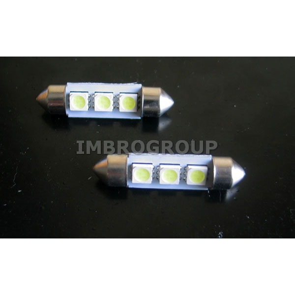 2 lampadine siluro 39mm 3 led smd 5050 luci targa for Lampadine led 3 volt